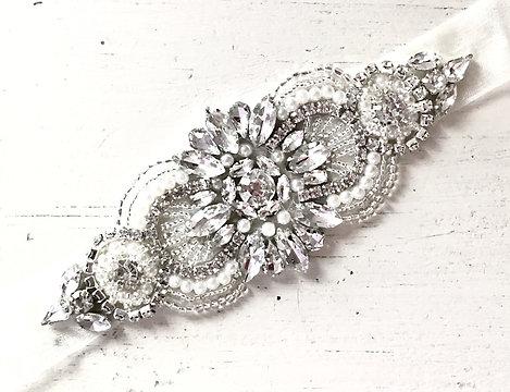 Ella Silver Crystal Organza Ribbon Belt