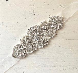 Mira Crystal and Faux Pearl Ribbon Belt
