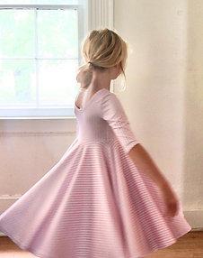 The Nichole Ballerina Dress in Light Pink Stripe