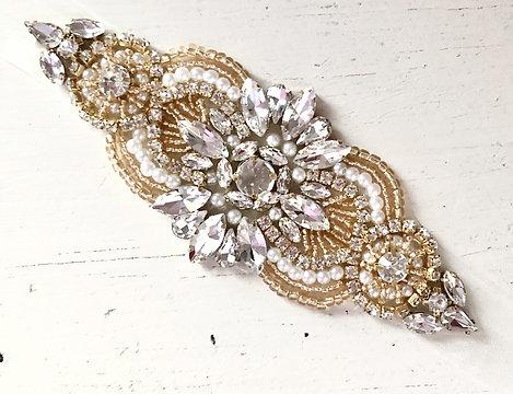Hattie Gold Crystal Organza Ribbon Belt
