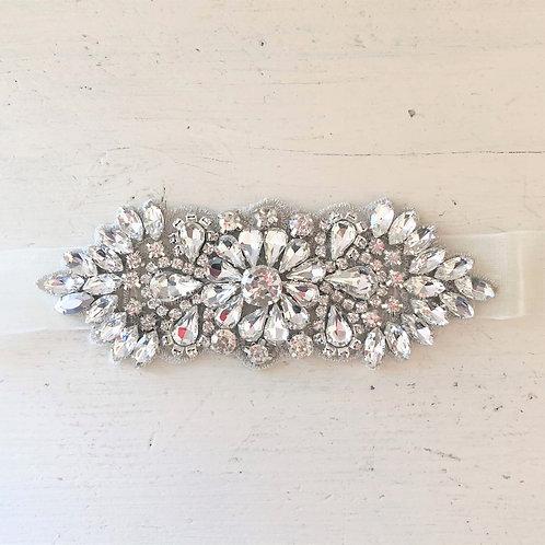 Delia Crystal Ribbon Sash Belt