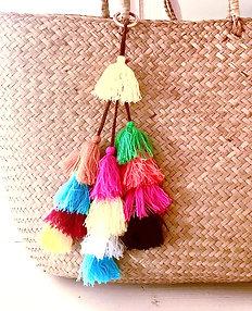 Rainbow Connection Straw Purse Tassel Charm