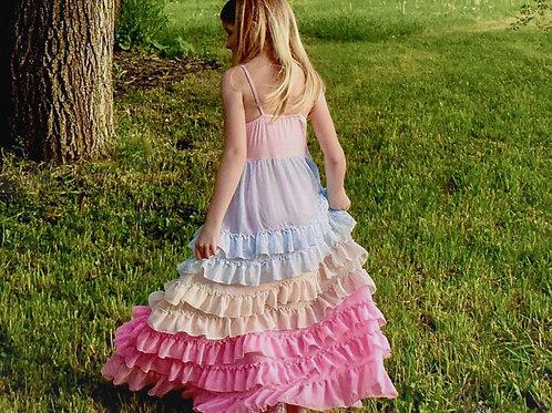 Rainbow Love Tiered Ruffle Toddler Girl Maxi Dress.