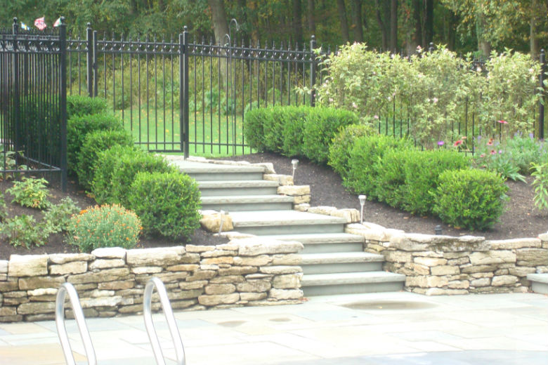 Steps, dry stack wall & landscaping