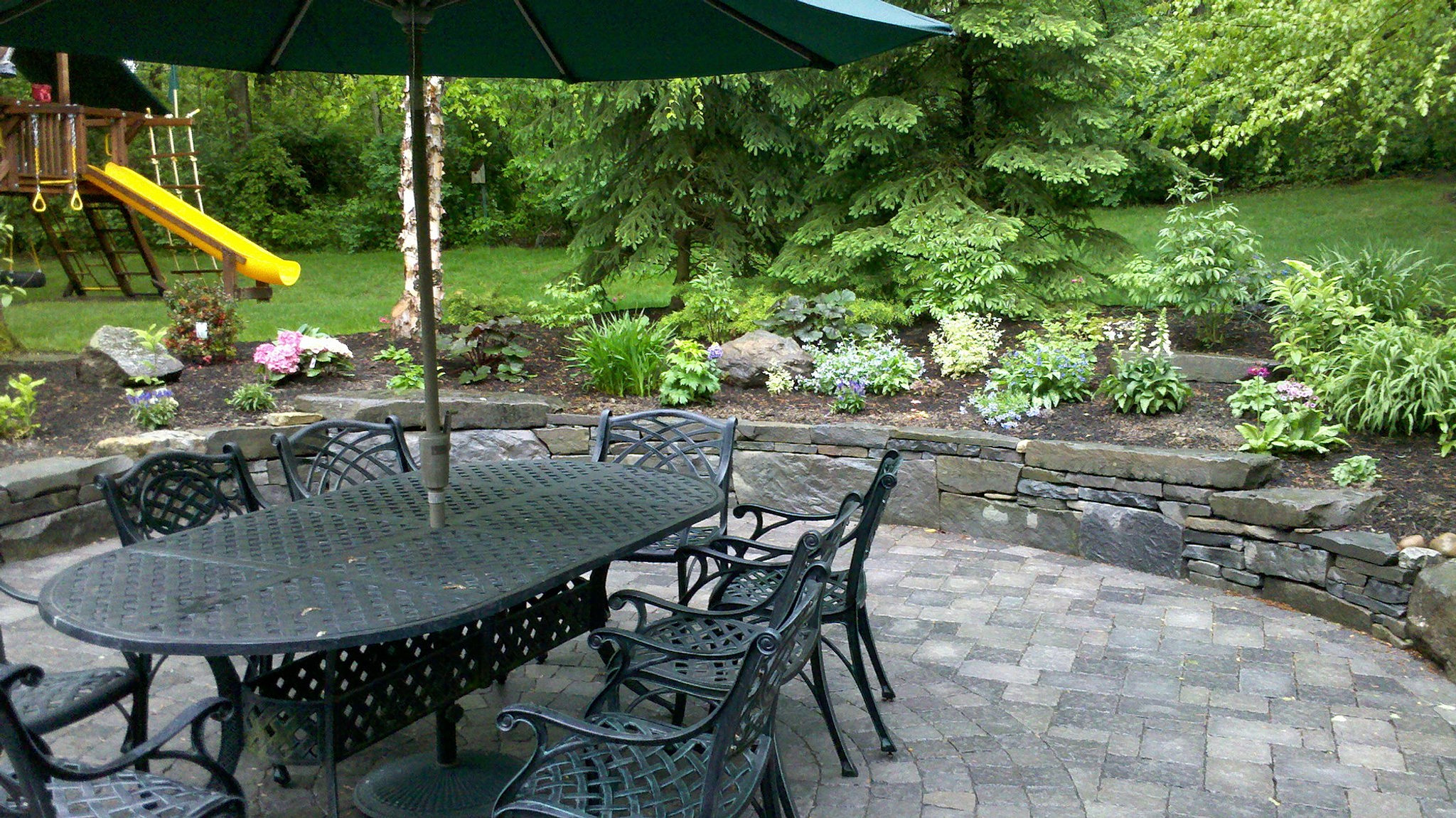 Wet Area Conversion, Redesigned With Drainage And Circular Inset, Brick  Paver Patio, Shade Perennial Garden, Deer Resistant.