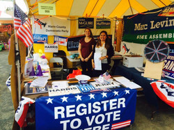 Volunteering at the Marin Democrats booth - Fourth of July 2018