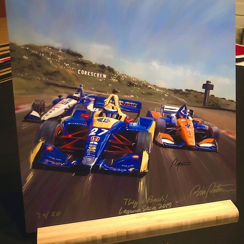 They're Back! Laguna Seca Print on aluminum with stand