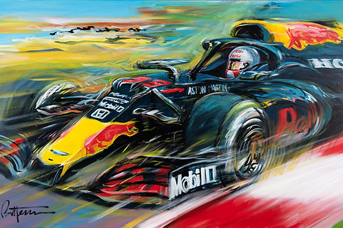 Verstappen wins 70th Anniversary GP - Giclee on Canvas