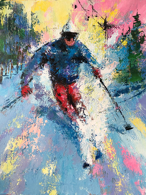 "Untitled Skier 2 - Acrylic on Canvas 16"" x 20"""