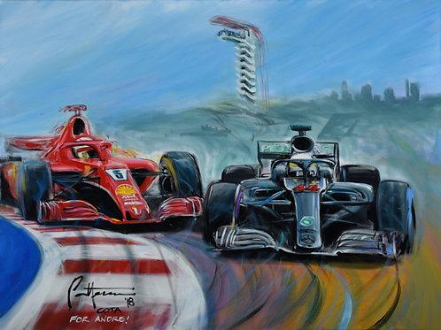 Hamilton and Vettel, 2018 USGP