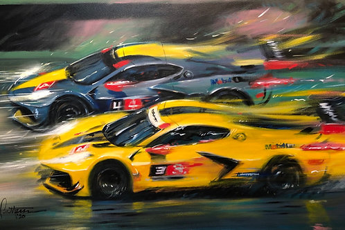 The Corvette C8's go for Rolex 24 at Daytona!!  - Giclee on Canvas