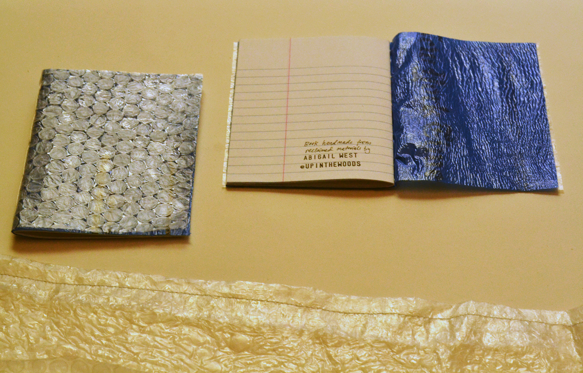 Bubble wrap & newspaper bag journal