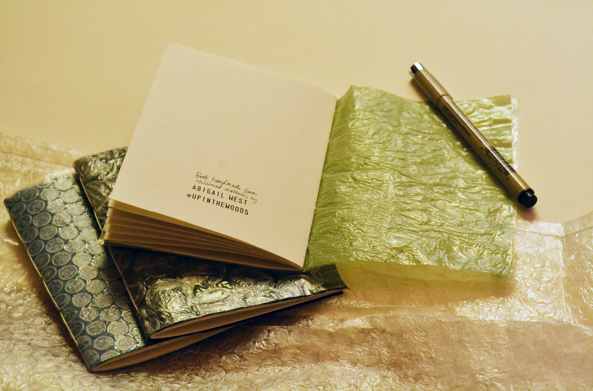 Bubble wrap & newspaper bag journal