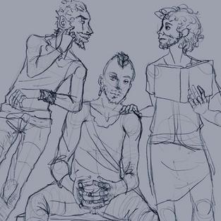 3 chars, sketch, full body: $200