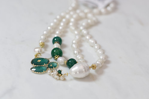 W20 Import Mother of Pearl Necklace Teal