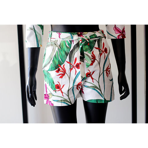 RINA S20 White Flower Shorts