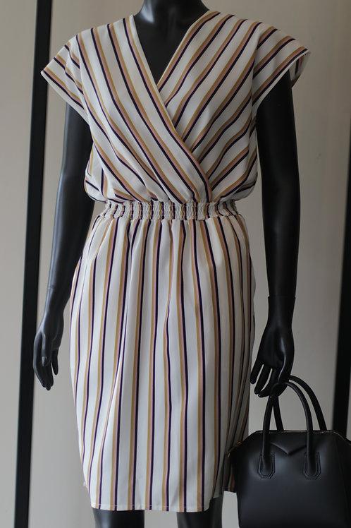 FAS S20 Kitty Cream Stripe Dress