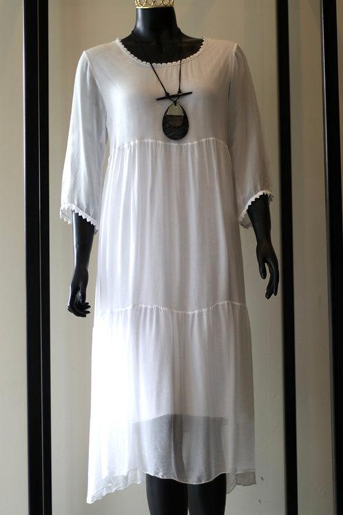 ANT S19 Import White Silk Long Dress