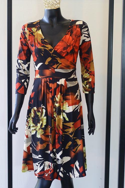 W20 Import Ninon Red Print Dress
