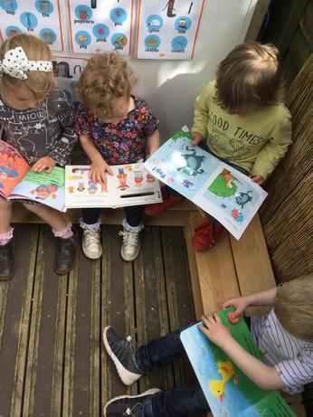 Reading in reading corner