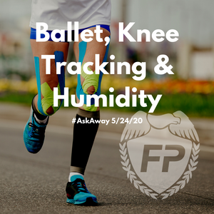 runner with kinesotape on both knees and IT bands with Fitness Protection Program logo