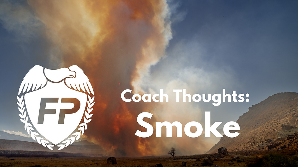wildfire smoke covering cloudless blue sky in Grand Junction, Colorado next to the Fitness Protection Program logo