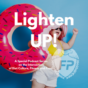 very happy fat woman with a big smile, small bikini and holding an inflatable pink donut with sprinkles Coach MK Fleming Running Life Podcast Lighten UP with Jummy Olawale and Dalia Kinsey
