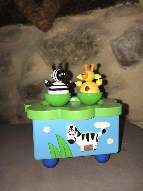 Boîte à musique zèbre et girafe