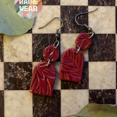 Tombstone Cranberry Earrings (Small)