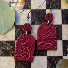 Tombstone Cranberry Earrings (Large)