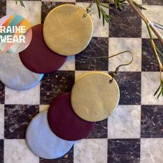 Layered Circles - Brass, Cranberry, Silver