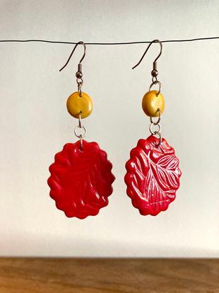 Mustard & Red Dangly Earrings
