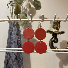 Double Circles in Vermillion & Red