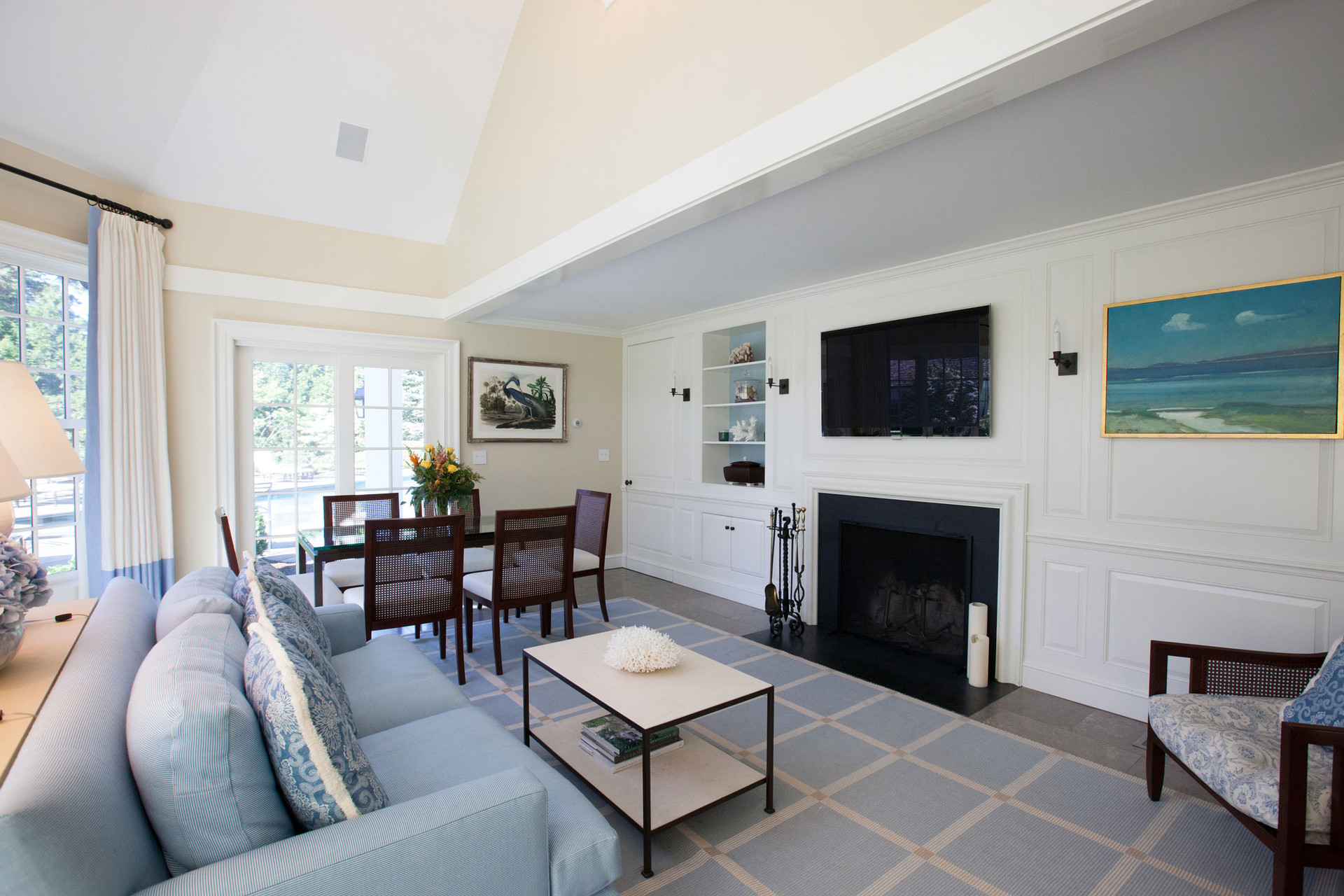 New Canaan Classic Pool House Living Room
