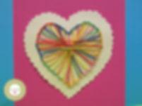 Tarjeta corazón de hilo