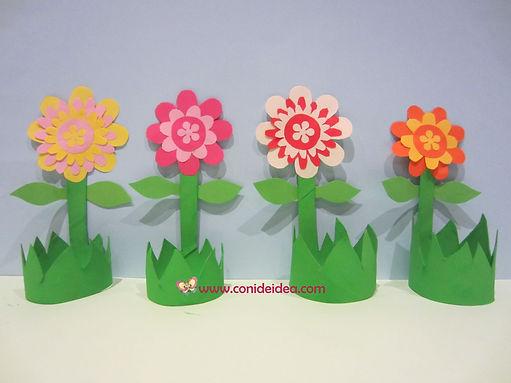Flores con cilindros de cartón