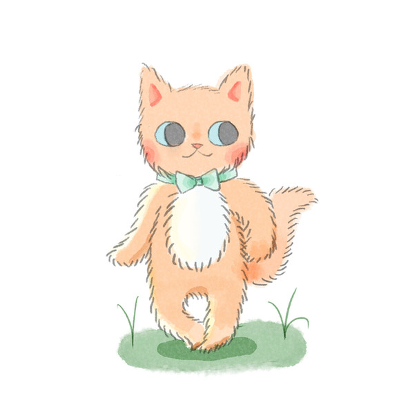 Kawaii cat (watercolor)