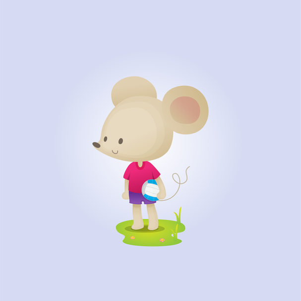 Cute mouse holding a ball