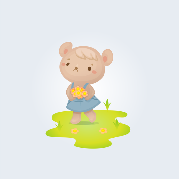Cute bear in overalls