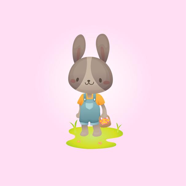 Cute rabbit in overalls