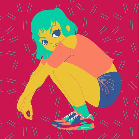 Crounching girl