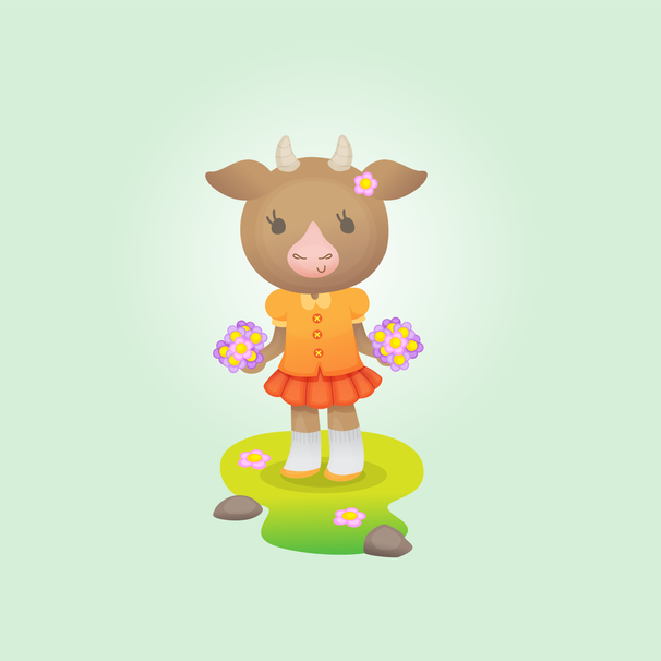 Cute cow or goat in orange dress