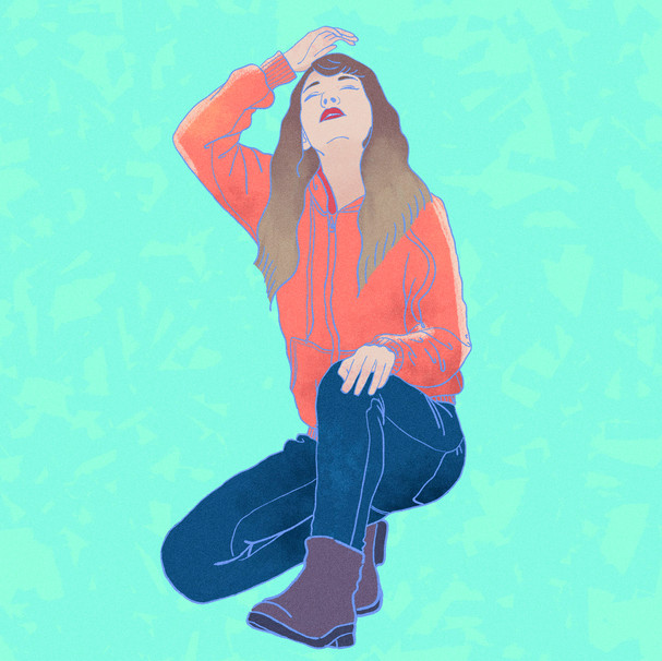 crouching girl