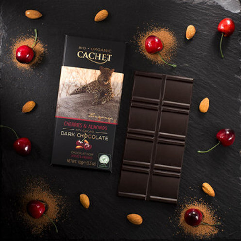 Cachet Organic Chocolate - 57% cacao with Cherries & Almonds