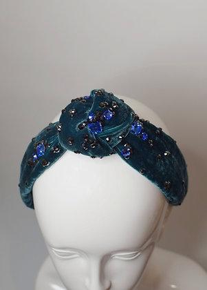 Emerald and blue velvet knot headband with Swarovski crystals