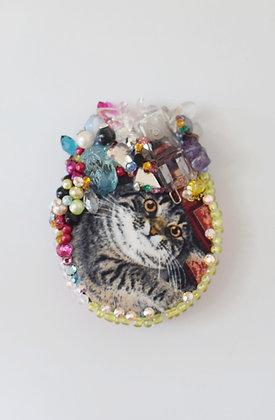 Tabby cat  & lightbulb  glam hairclip / brooch