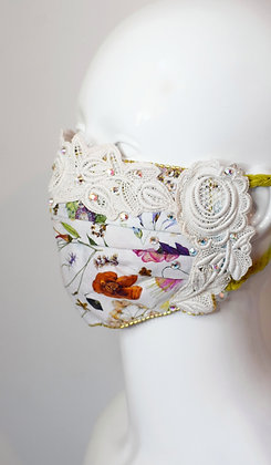 Bridal / glam floral and vintage lace Liberty print facemask