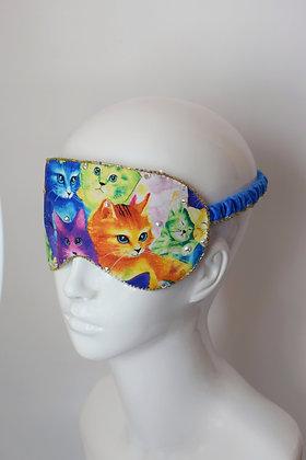 Rainbow cats and Swarovski crystals sleep / travel mask