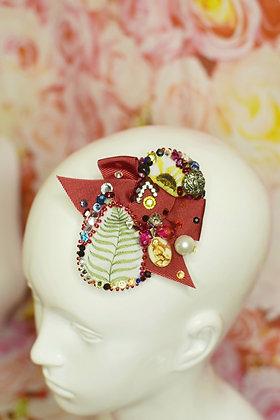 Red bow Liberty print lead & pin up girl Swarovski crystals hairclip