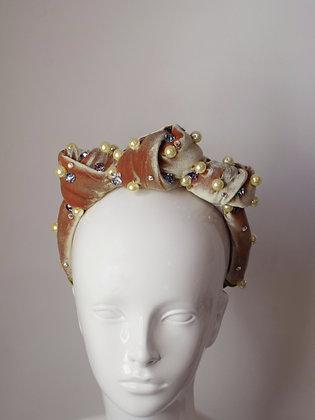 Knots velvet, pearls and Swarovski crystals turban headband